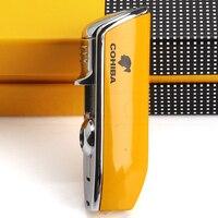 COHIBA Мини карманная зажигалка для сигар металлическая ветрозащитная 3 струйная синяя пламенная горелка зажигалки для сигарет с дырокол для ...