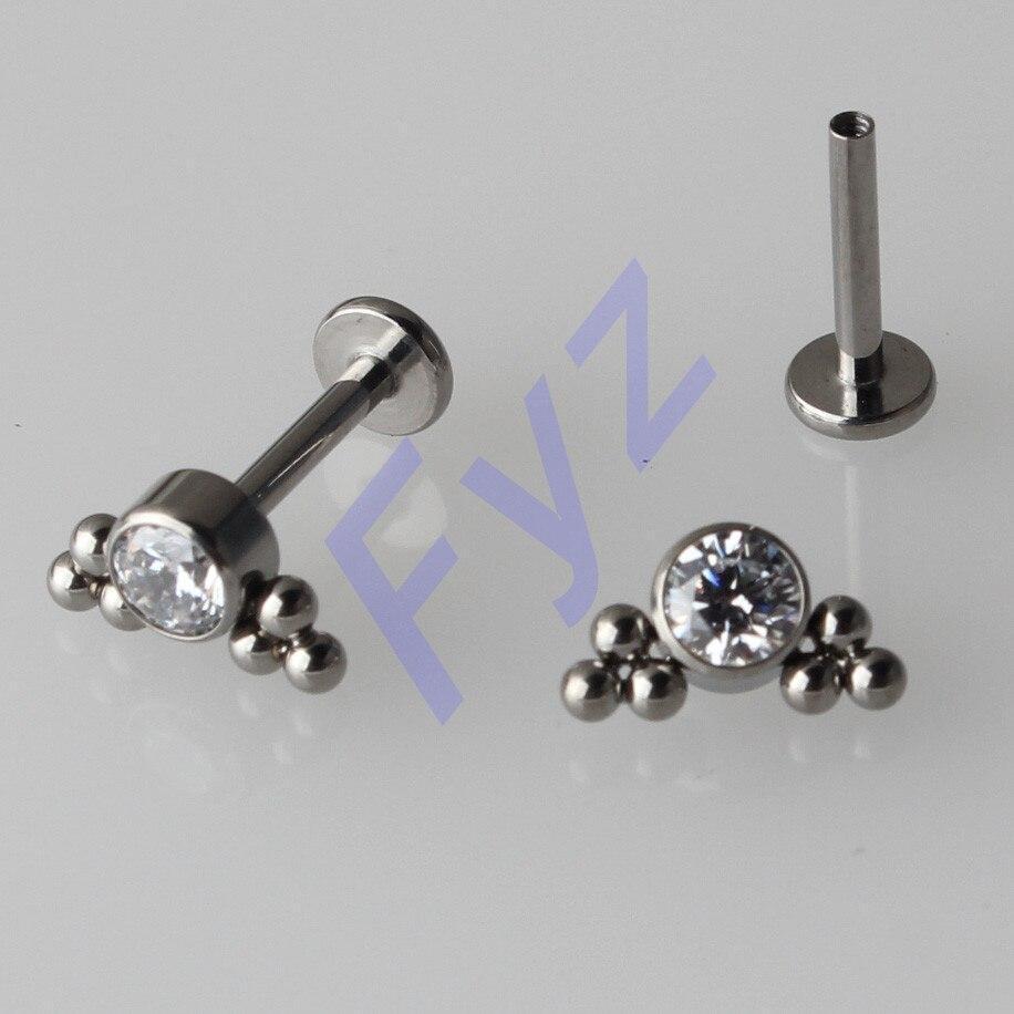 High Polishing G23 Titanium Bezel Set Clear CZ Gem Labert