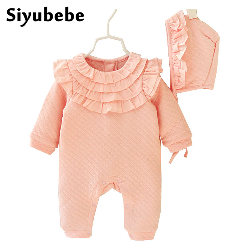 2016 Winter Newborn Baby Girl Clothes Sets Princess Kids Birthday Dress Girls Lace Rompers+Hats Baby Clothing Infant Jumpsuit newborn baby girl clothes air cotton winter thicken coveralls rompers princess lace infant girls clothing set jumpsuit hats