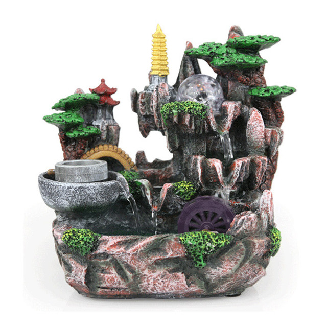 Q Free Shippig Rockery Decorative Indoor Water Fountains Humidifier Home Decorations Artificial Mountains Crafts