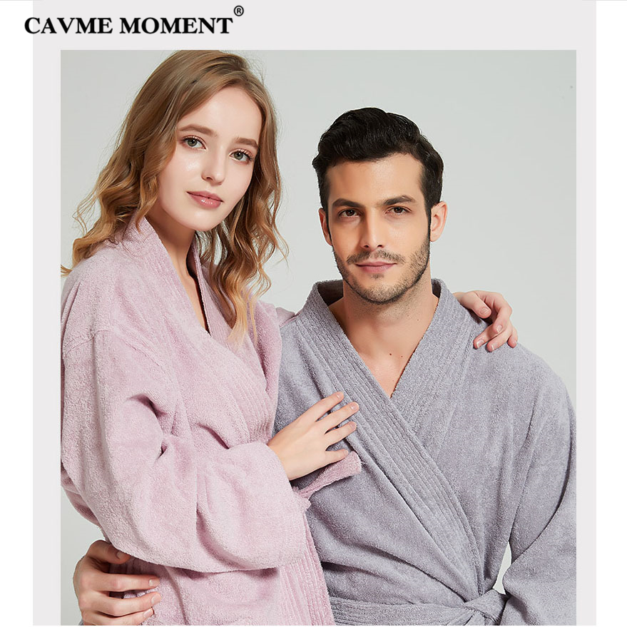 CAVME Hotel Towel Bathrobe Cotton Terry Robes Kimono Long Nightgown Lounge Sleepwear for Lover Solid Color V Collar LOGO CUSTOM