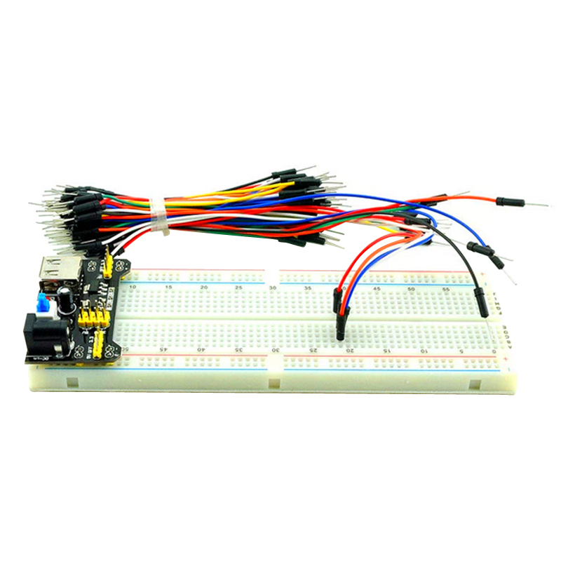 Raspberry P{i 3 MB-102 Points Solderless Prototype Bread board kit + Breadboard Power Module + 65 Flexible Jumper Wires Cable 300 tie points prototype solderless breadboard white