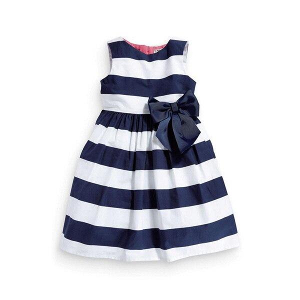 Детские Малыш Девушки One Piece Платье Синий Белый Полосатый Лук Лето Туту Платье Новый