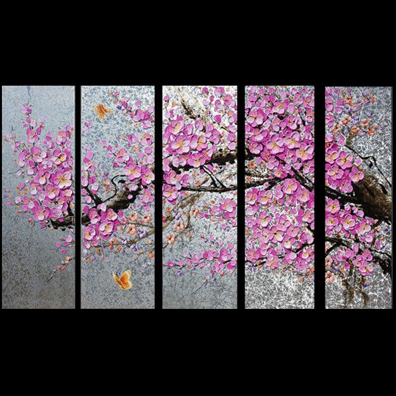 Haute Qualité Peint À La Main Rose Fleur Arbre Couteau Peintures Murales Sur Toile 5 panles Peinture À L'huile Photo Sur Toile Décoration