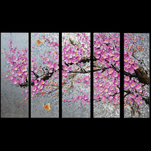 High Quality Hand Painted Pink Flower Tree Knife Wall Paintings On Canvas 5 panles Oil Painting Picture On Canvas Decoration