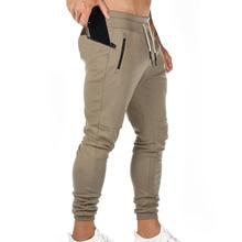 Men Gym Trousers Zip Pocket Jogging Pants Bodybuilding Sweatpants Fitness Football Soccer Sport Training Pants недорого