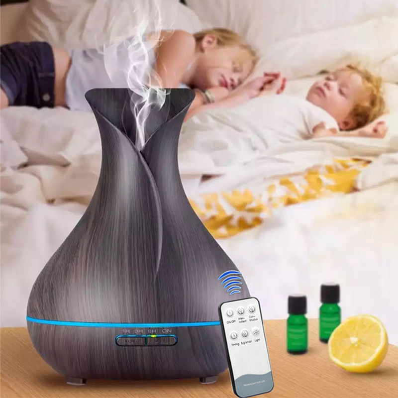 цена на 400ML Aroma Essential Oil Diffuser Ultrasonic Air Humidifier With Remote Control Aromatherapy Diffuser Wood Grain Aroma Diffuser