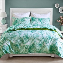 Pastoral Design Green Bedding Set Monstera Pattern King Size Bedclothes Pillowcase Duvet Cover Sets Home Decoration Textiles