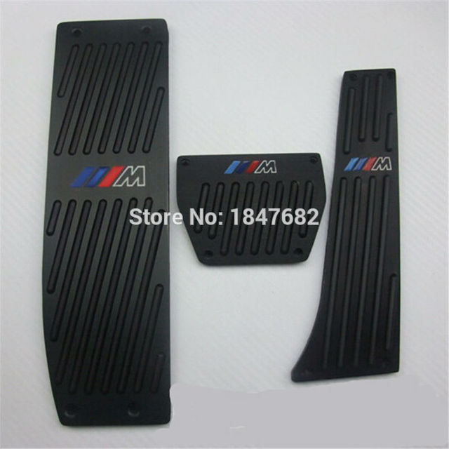1 set black  aluminum Fuel Brake Foot Rest AT Car pedals Plate Non-slip For BMW Foot padel ///M M 1 3 Series E93 E90 E46 E92