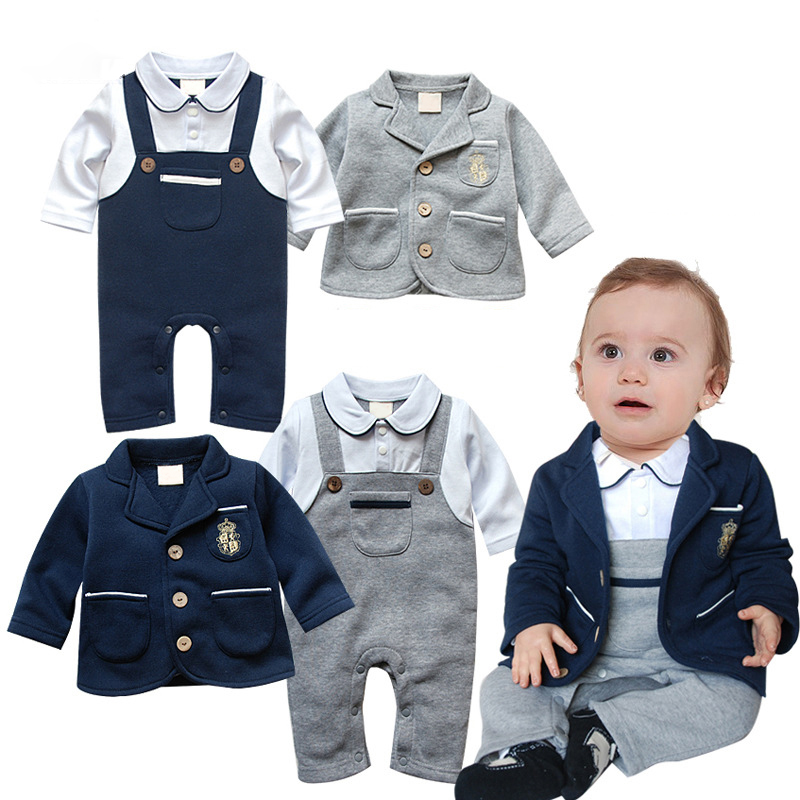 2018 Baby Boy Clothes 2Pieces/Set Patchwork Baby Coat + Romper Kids Wedding Clothes Sets Formal Suits Infant Toddler Outfits New
