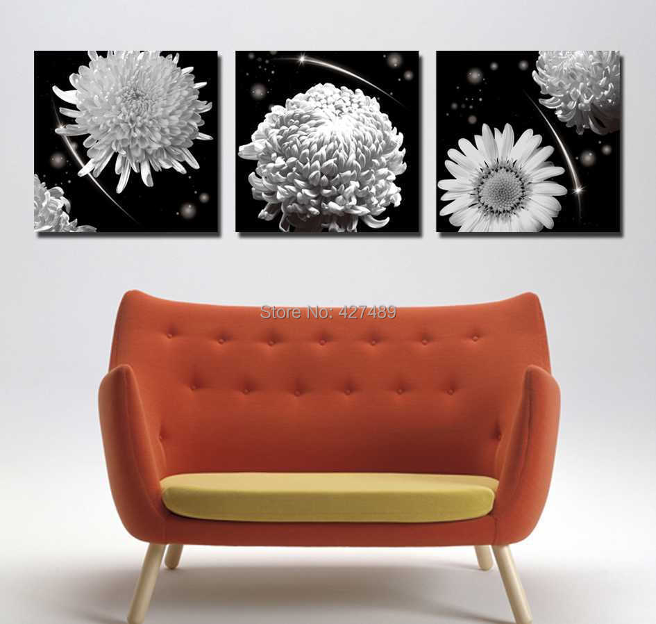 3 Panel modern wall art home decoration frameless oil painting canvas prints pictures P176 abstract crysanthemum daisy flowers - Ann Taylor's Store store
