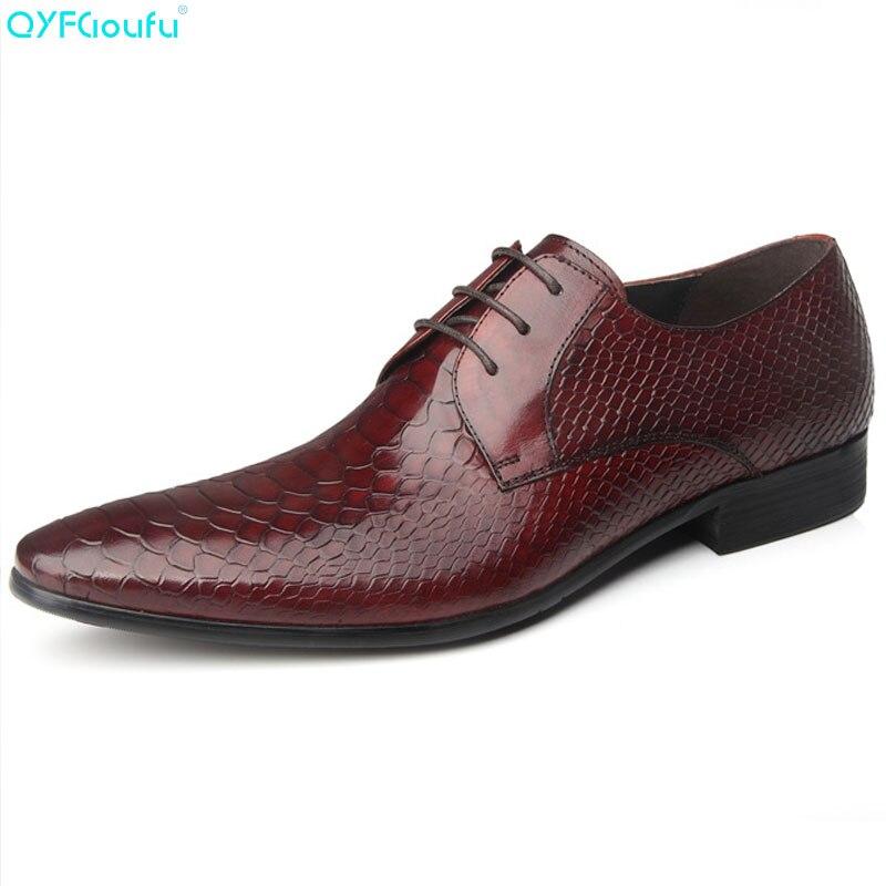 Da Sapatos Dedo Sapato Couro Cobra vermelho Homens Pontas up Pé Do Novo Luxo Preto De Oxfords Qyfcioufu Padrão Terno Moda Vestir Genuíno Vaca Lace Vinho Preto wn6zF1vxqx