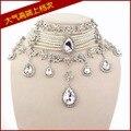 Мода ювелирные изделия перл люкс ожерелье клип серьги горный хрусталь ожерелье серьги свадебные украшения устанавливает белый бесплатная доставка