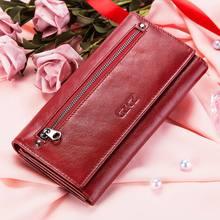 محفظة نسائية عصرية موديل 2020 من الجلد الطبيعي محفظة نسائية جديدة مع حامل بطاقة باللون الأحمر محفظة جيب للعملات المعدنية محفظة نسائية