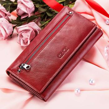 fashion Walet for Women Wallet 100% genuine leather New Women's purse red Card Holder Coin Pocket Clutch carteira feminina Rfid
