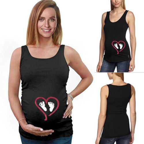 Fashion Maternity Funny Tanks Announce Pregnancy Pregnant Cute Baby Footprint Tanks