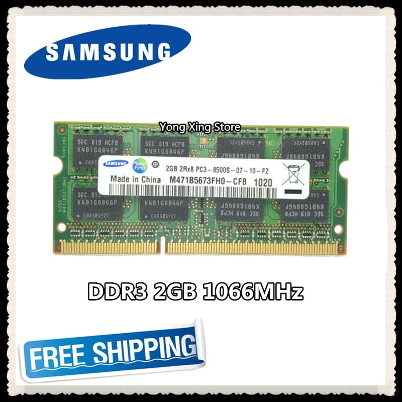 Notebook Memory Samsung DDR3 2GB 1066MHz PC3-8500S DDR 3 2G Laptop RAM Original 204PIN SODIMM