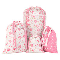 Neoviva Cotton Laundry Bag For Travel With Drawstring Pack Of 4 In Different Sizes And Patterns