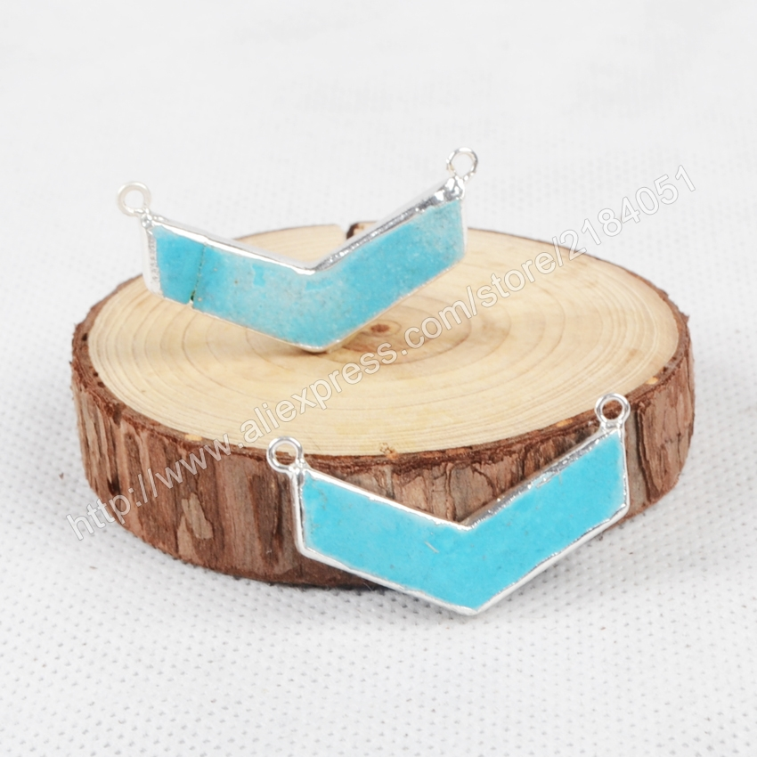 Boomerang Shape Blue Howlite Turquoise Silver Plated Necklace Connector Beads Double Bails Making Jewelry S0868