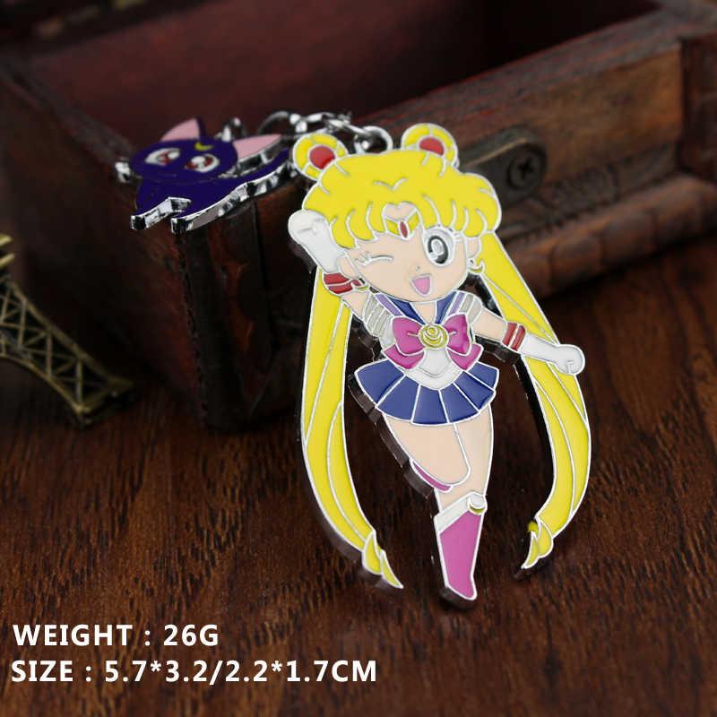 Anime Sailor Moon figura juguetes Super Luna Mercury Mars Jumbo Venus llavero Sailor Moon figura llavero Anime sexo chica colgantes