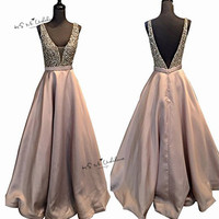 Vestido de Formatura Longo Oud Roze Prom Dresses 2018 Parel satijn Tank Floor Lengte Avondjurk Lange V Terug Ballkleider