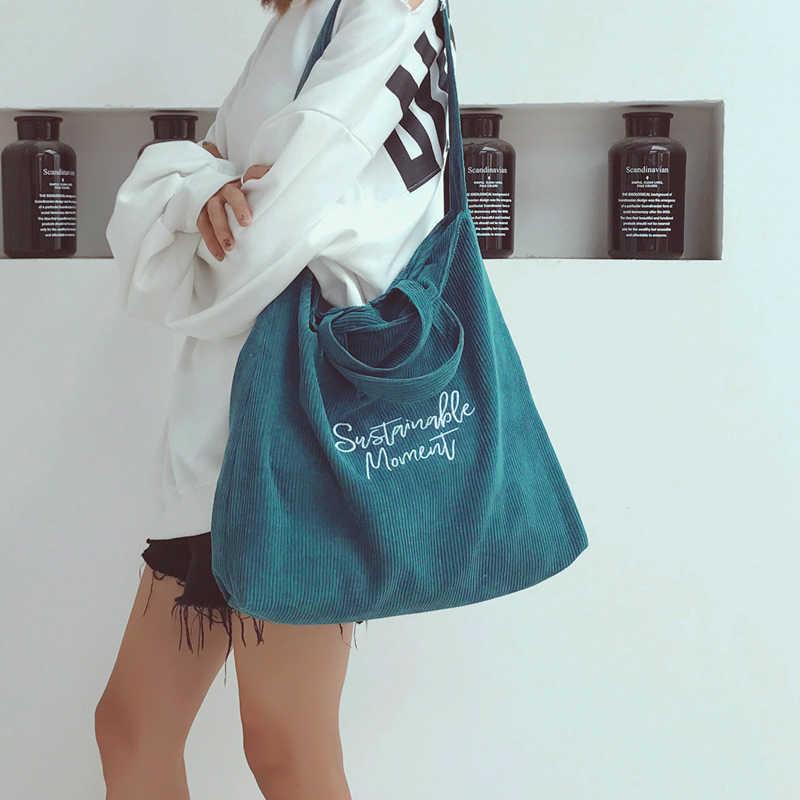 Las mujeres de pana bolsa de lona casuales de las señoras bolso de hombro plegable bolsas de compras reutilizables bolsa de playa Mujer la tela de algodón bolso