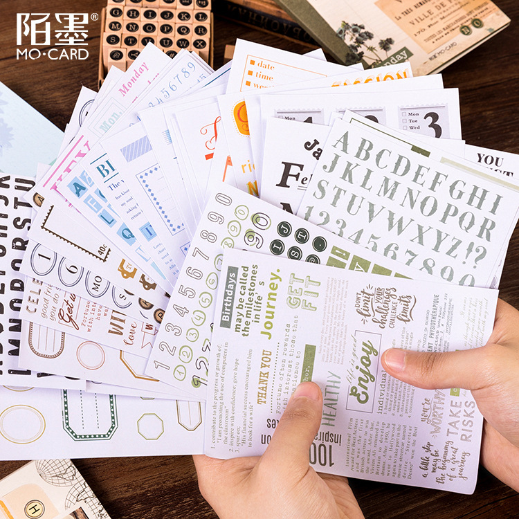 10 Pcs Korean Stickers Set Basic Alphabet Writable Planner Scrapbooking Accessories Bullet Journal Supplies Stationery Sticker