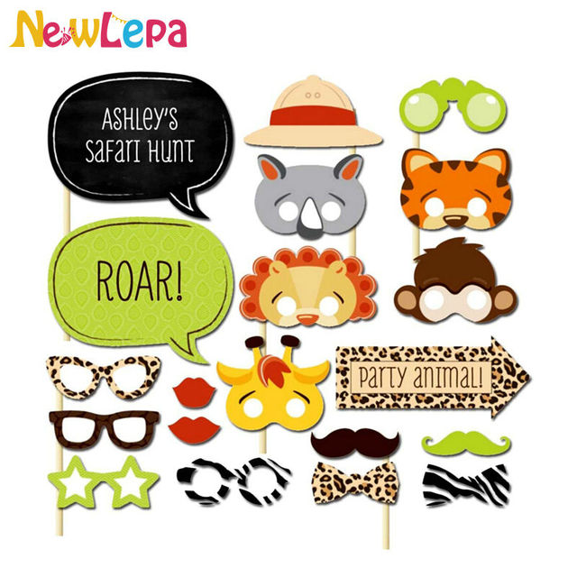 02b9506bc9 20pcs set Child Zoo Tiger Monkey Photo Booth Props Glasses Kids Birthday  Party Decoration Children Day