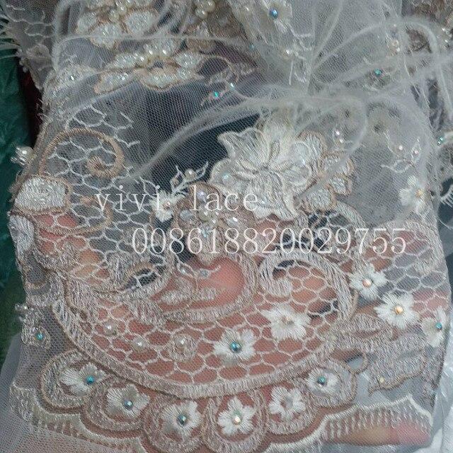 MY003 # 3D pluma perlas piedra dobby patrón de lujo del cordón del ...