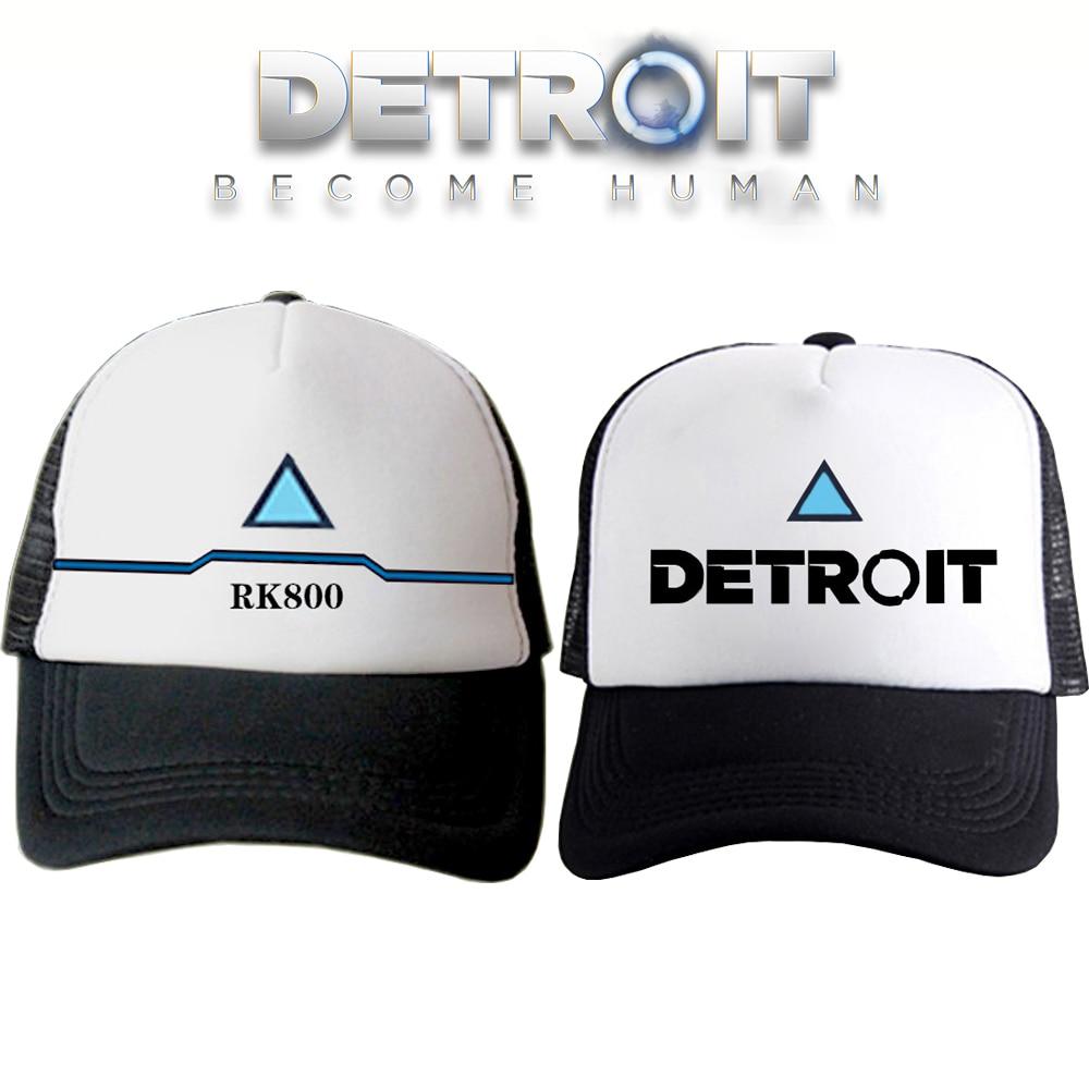 Detroit Become Human Couple Caps Connor RK800 Cosplay Hip Hop Unisex Sun Baseball Cap Adjustable Visor Hats