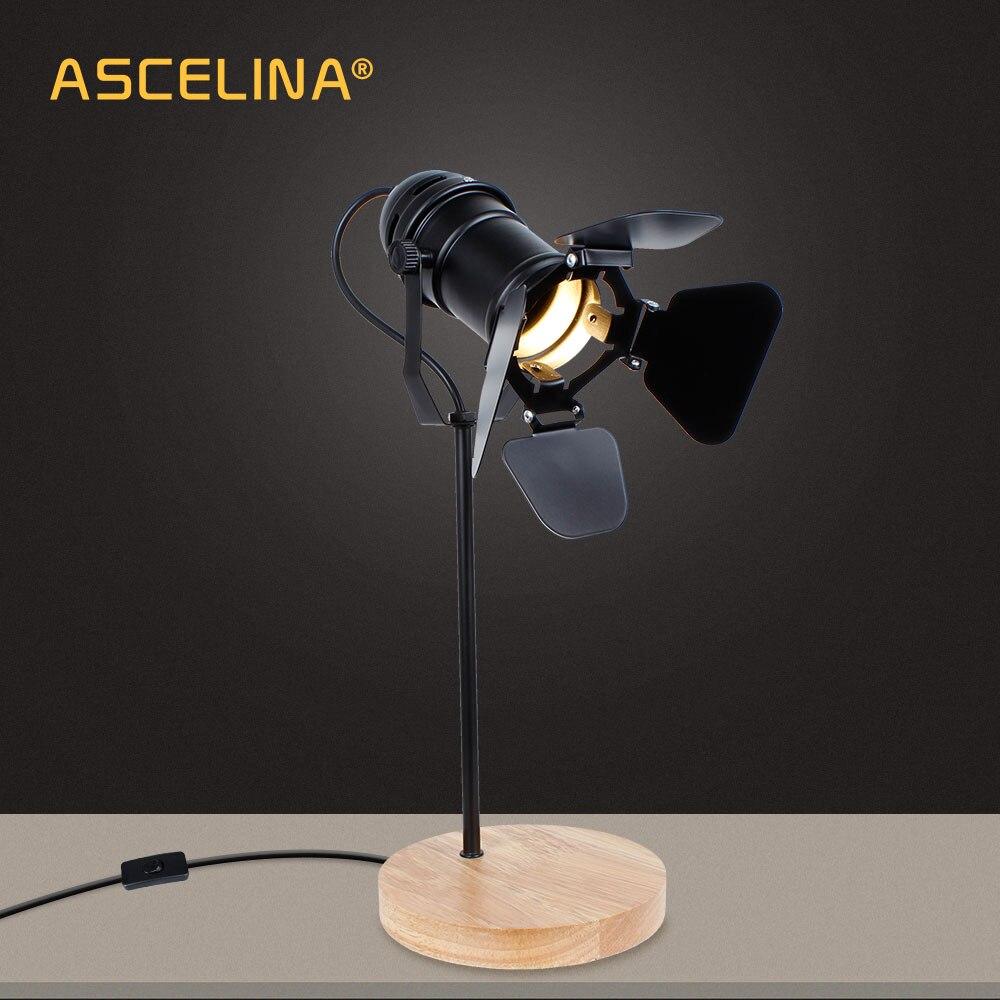 ASCELINA Vintage Led Desk Lamp Wooden Table lamp Flexible Adjustable Reading Light Office Home Decoration Lighting Button Switch