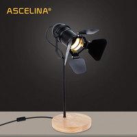 Ascelina 빈티지 led 데스크 램프 나무 테이블 램프 유연한 조절 독서 빛 사무실 홈 장식 조명 버튼 스위치