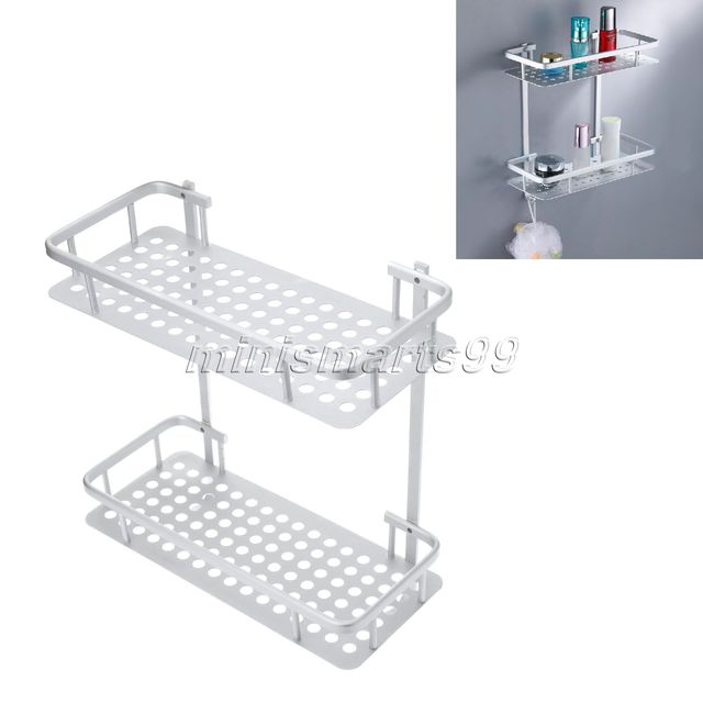 Aluminum Double Wall Corner Shower Shampoo Soap Cosmetic Storage ...