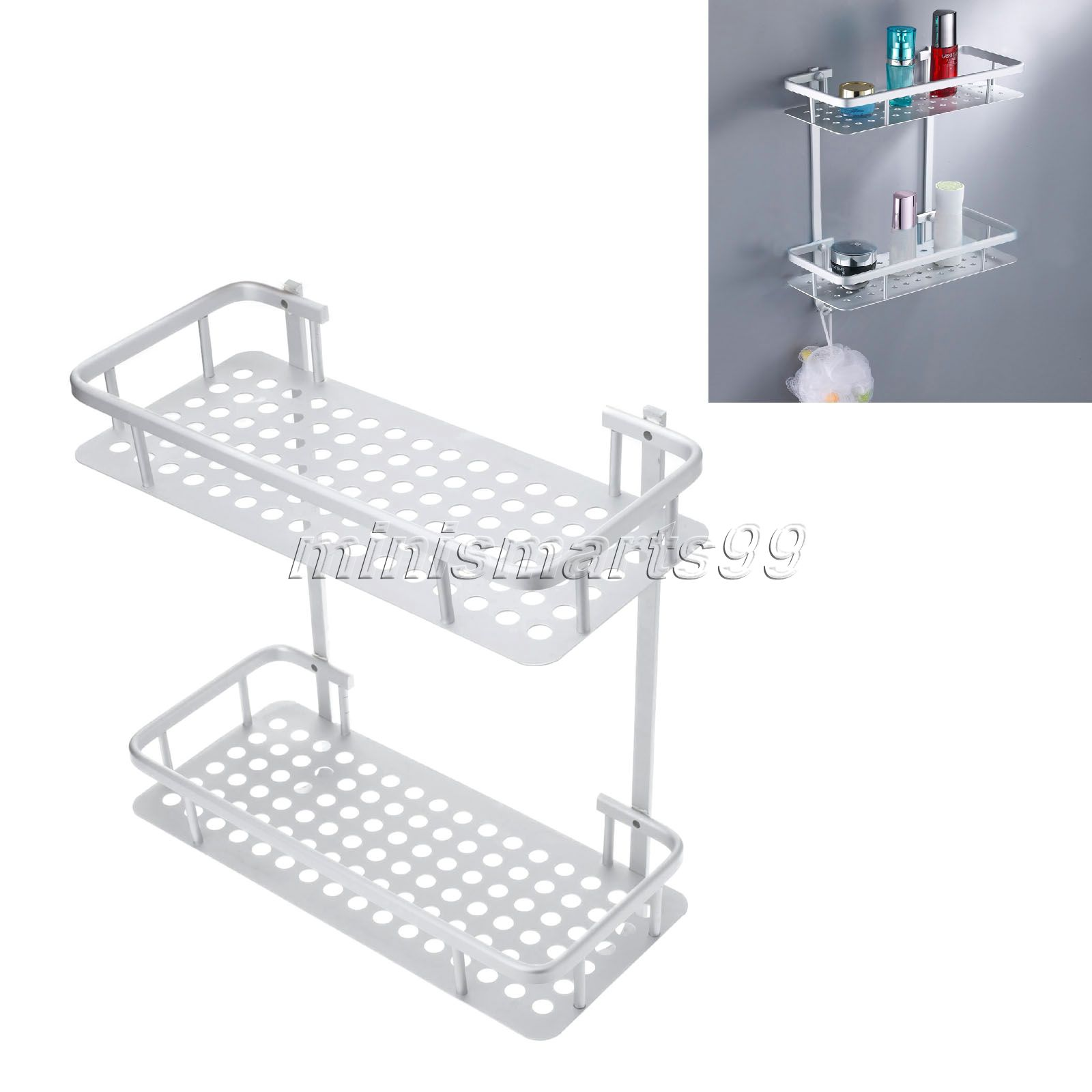 Plastic removable bath shelf wall mounted cosmetic holder storage - Aluminum Double Wall Corner Shower Shampoo Soap Cosmetic Storage Shelf Bathroom Shelves W Hacks Towel