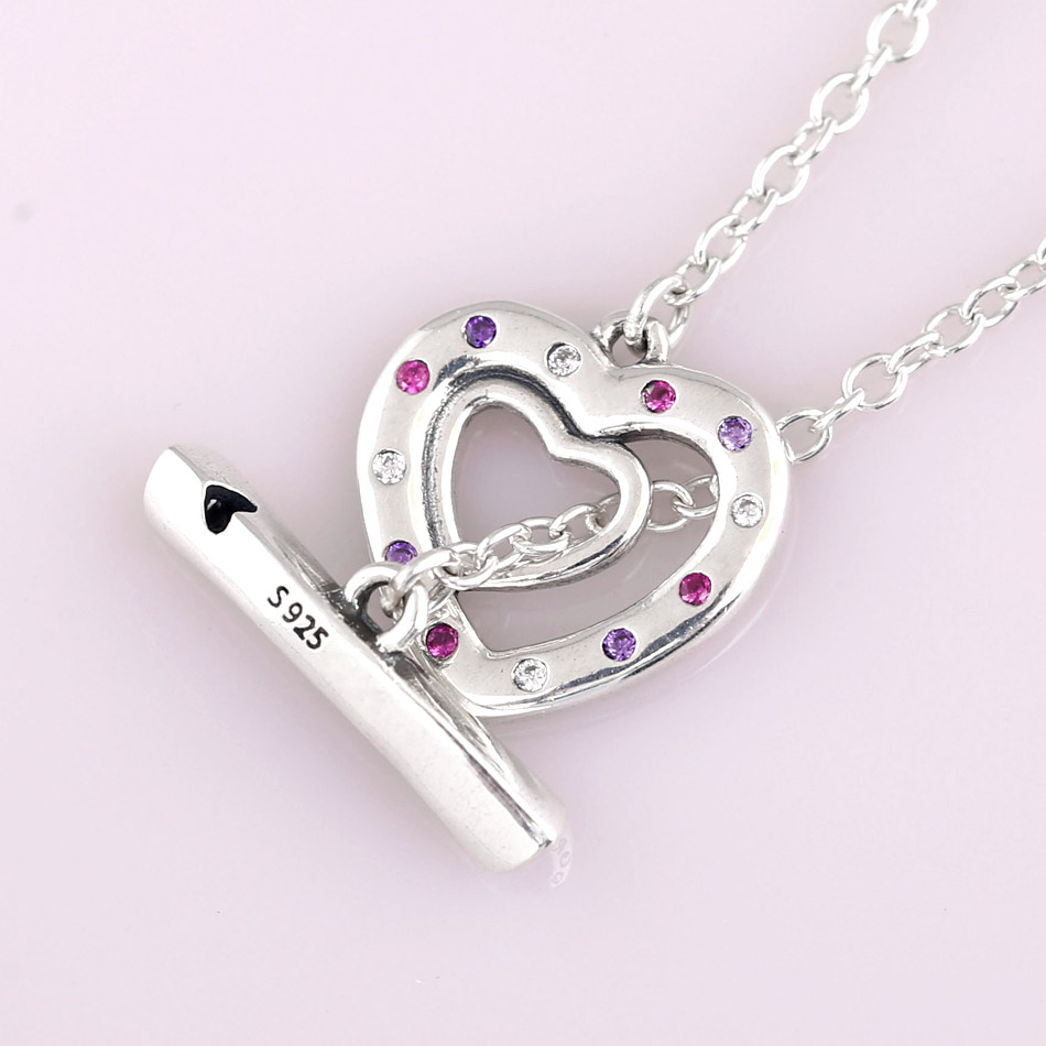 New Bright Hearts Toggle Closure With Cryatal Necklace For Women Wedding Gift Europe Diy Jewelry 925 Sterling Silver Necklace