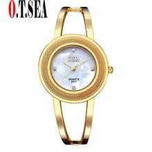 Luxo O. T. MAR Marca Pulseira de Aço Inoxidável Relógios Mulheres Senhoras  Vestido De Cristal de Quartzo relógios de Pulso Relog. 979418a366