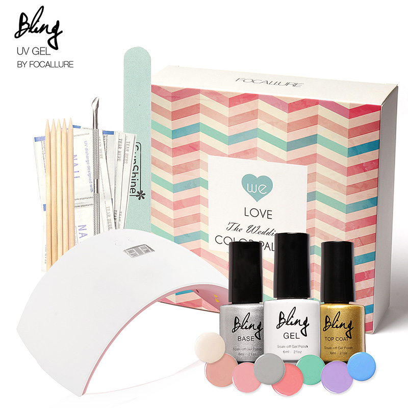 FOCALLURE Nail Art Pro DIY Full Set Soak Off Uv Gel Polish Manicure set  Curing Lamp Kit 8 colors&base top Set nail gel nail too focallure new arrival uv gel kit soak off gel polish gel nail kit nail art tools sets kits manicure set with sunmini led lamp