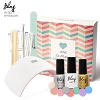 FOCALLURE Nail Art Pro DIY Full Set Soak Off Polacco Uv Del Gel set Manicure Cura Lampada Kit 8 colori & base top Set unghie gel del chiodo troppo