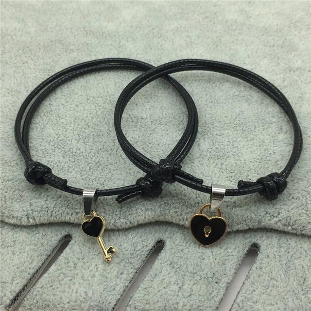 2 PCs/lot,New Arrival Couple Bracelet Alloy key Heart Lock Charm Bracelet  Handmade Jewelry Rope Bracelet Lovers Gifts for Women