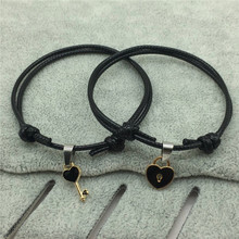 2 unids/lote… nueva llegada pulsera de pareja de llave de aleación de bloqueo de corazón pulsera del encanto de la joyería hecha a mano cuerda pulsera de los Amantes regalos para mujeres
