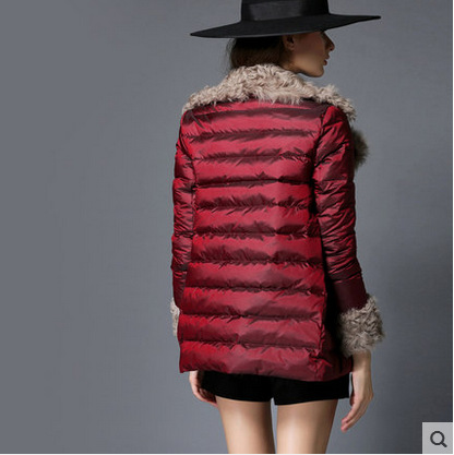 Nouveau Canard De D'hiver Veste Chaud Court Mode Fourrure Cape Bourgogne Femme Manteau Parka Style Femmes Col Rouge Manteaux Vestes 06gdq