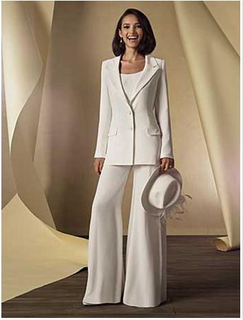 69f88464018 Three Pieces Chiffon Ivory Mother Bride Pant Suits With Long Sleeve Jacket  Trumpet Pants New Trend Custom Made 2016 Slim Fit