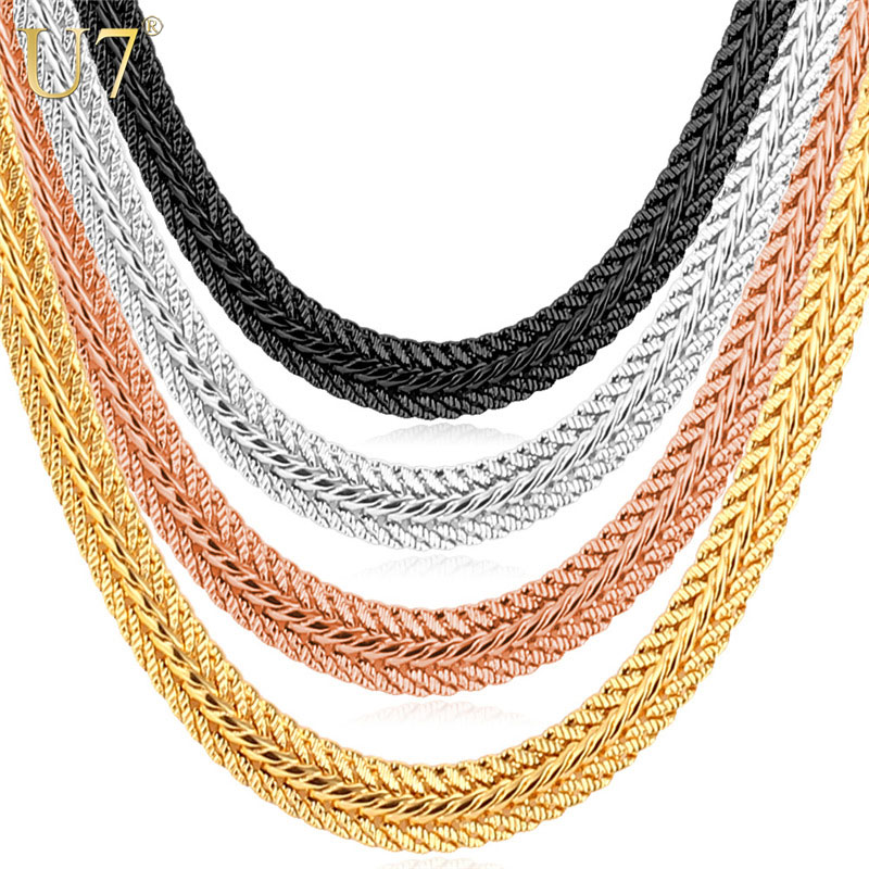 U7 Brand Men Necklace Fashion Rapper Jewelry Rose Gold/Black/Gold Color 6MM Unique Choker/Long Classic Foxtail Chain N363