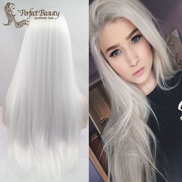 Silver White Lace Front Wig Synthetic Heat Resistant Long White ...