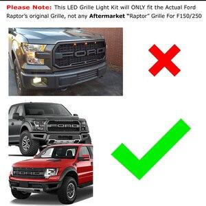 Image 4 - IJMD (3) รถบรรทุก 4x4 กระจังหน้าสีขาว/แอมเบอร์สีเหลือง LED สำหรับ 2010 2014 และ 2017 up Ford raptor กระจังหน้าที่จอดรถขับรถ