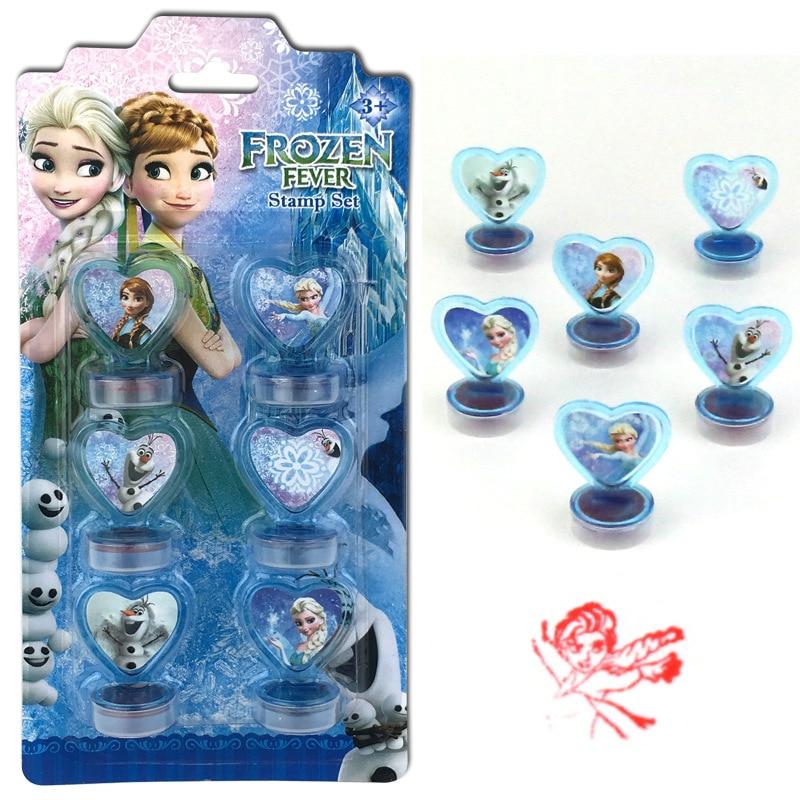Disney 6 pièces reine des neiges princesse Aisha Spiderman dessin animé estampillé enfants jouet sceau outils de dessin art fournitures jouets cadeau
