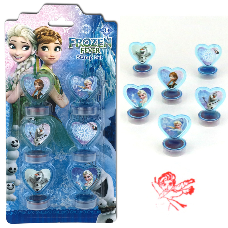 Disney 6PCS Frozen Princess Aisha Spiderman   Cartoon Stamped   Children's Toy Seal Drawing Tools  Art Supplies Toys Gift