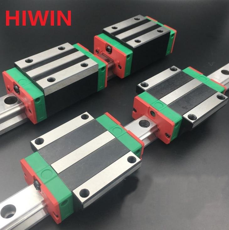 2pcs 100% original Hiwin linear guide HGR15 -L 1300mm + 2pcs HGH15CA and 2pcs HGW15CA/HGW15CC block for CNC router 2pcs 100