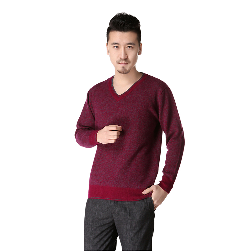 Dilly Fashion 100% Cashmere Thick V Collar Sweater Men Autumn And Winter - DL027