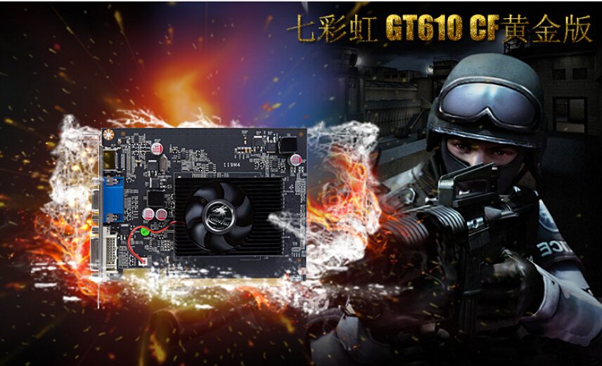 ФОТО original NEW Desktop computer game graphics card for Colorful GT610 1024M DDR3 64BIT DX11 VGA+DVI+HDMI free shipping